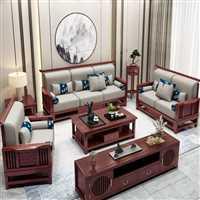 广东民宿沙发厂家 胡桃木储物实木沙发组合  新中式沙发组合定制