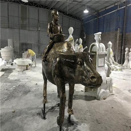 佛山玻璃钢仿铜牛雕塑 玻璃钢动物造型雕塑