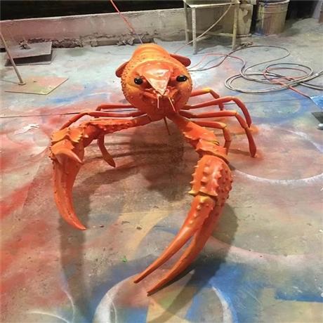 佛山玻璃钢雕塑 餐厅玻璃钢龙虾造型雕塑道具