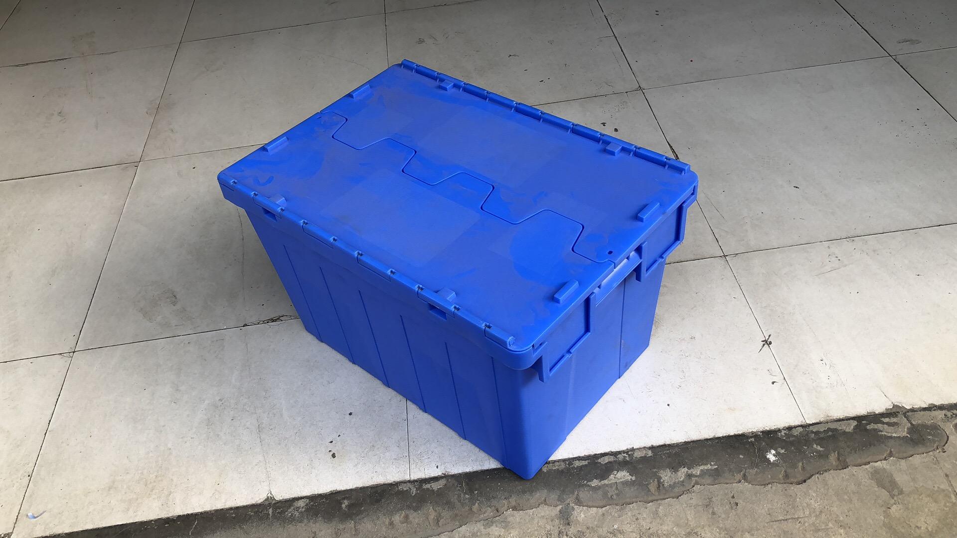 成都物流周转箱 连盖塑料周转箱 翻盖转运箱 斜插式物流箱