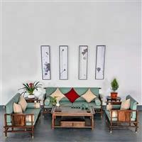 南美黑胡桃木 全实木沙发 现代简约新中式实木布艺沙发