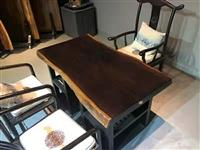 黑檀实木大板 办公室茶桌家用原木大板桌