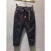 19年加厚加绒高腰牛崽裤 童装品牌扣头店货源 童装在哪里进货