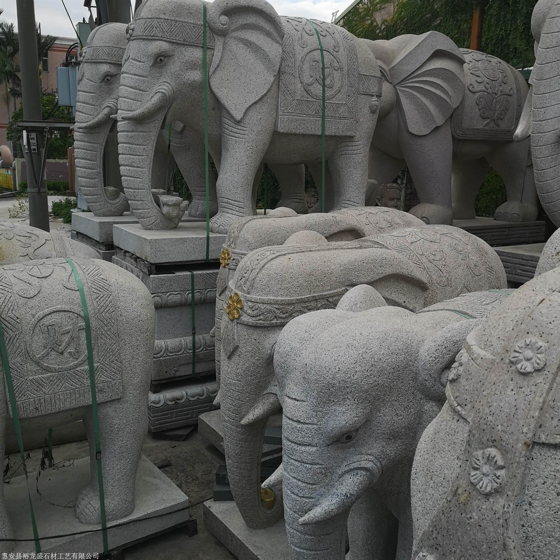 芝麻白石雕大年夜象 惠安石雕厂 闽南石业雕刻 现货石大年夜象