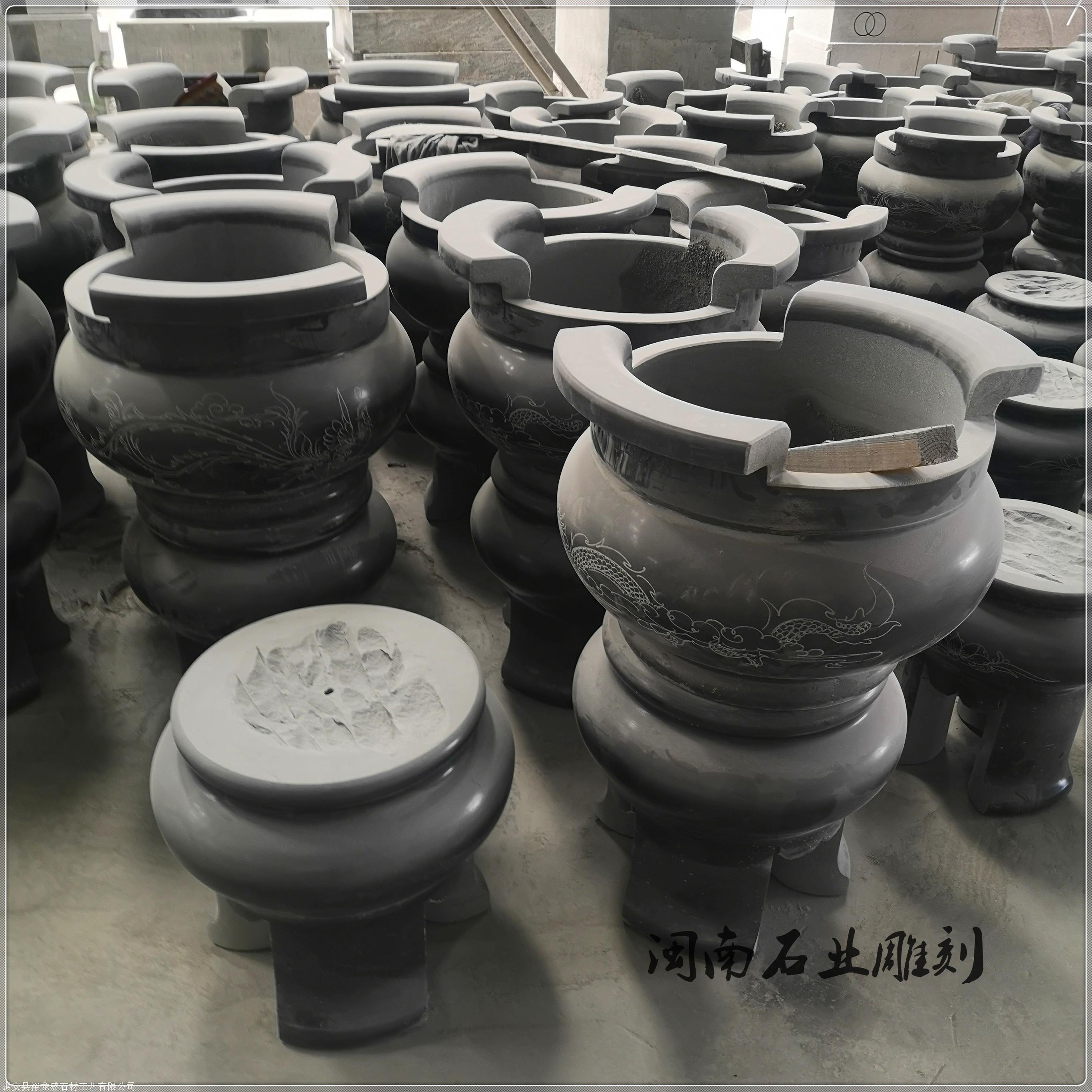 马来西亚石雕香炉雕刻 供应石雕方形香炉 寺庙圆形石香炉