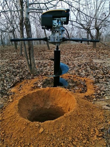 钻2米深孔栽树挖坑机实效