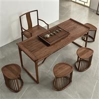 廣東 南美胡桃木茶桌價格 茶桌椅組合 新中式茶桌價格怎么樣