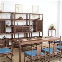 中山 南美胡桃木茶桌價格 茶桌椅組合 新中式茶桌圖片