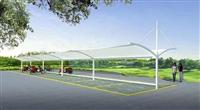 厂家供应河南周口停车棚 定制安装钢膜结构汽车遮阳蓬 电瓶车篷