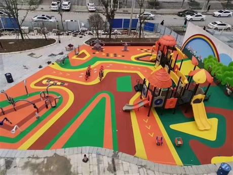 彩色颗粒幼儿园塑胶地坪
