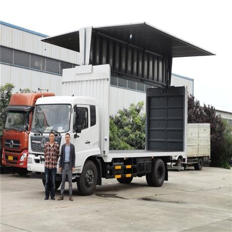 额载7.89吨厢长7.7米,8米,8.3飞翼车,东风翼开启厢式车厂家