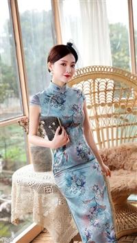 马如龙20年夏季缎面真丝旗袍连衣裙
