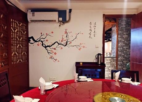 南京中式风格餐厅墙绘QH-4 手绘风景壁画