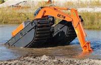 东莞水陆挖掘机出租水上挖机租赁