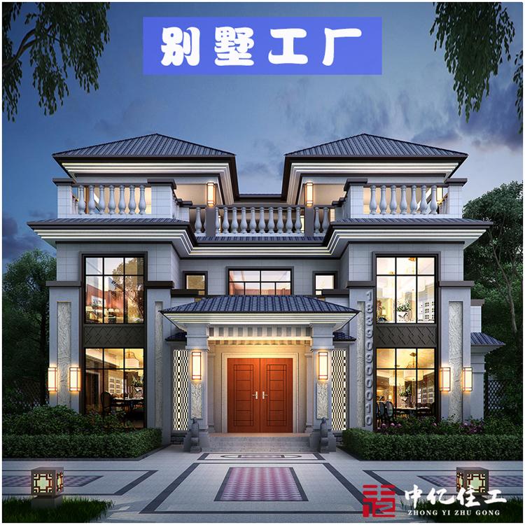 装配式轻钢别墅 建筑面积400平米三层中式轻钢别墅