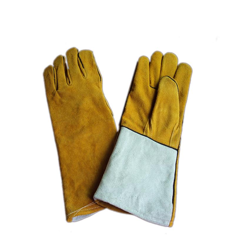 焊卫 原色配金黄色皮烧焊手套 14寸/16寸/18寸 HW-5035