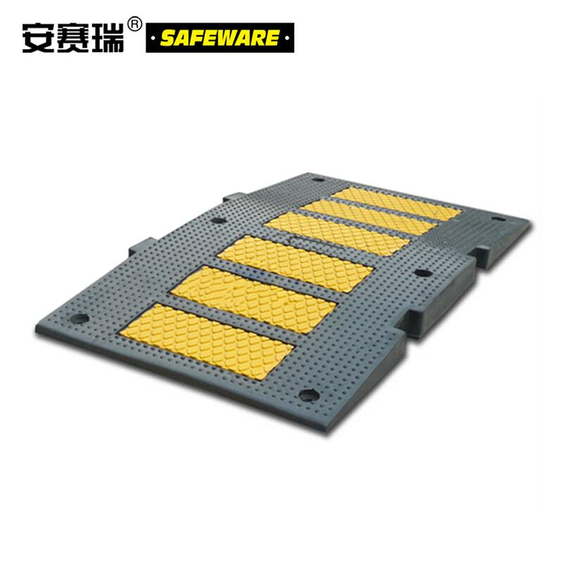 安赛瑞 重载反光减速板-优质原生橡胶,黄黑条纹,含安装配件,900×500×50mm,11105  11105