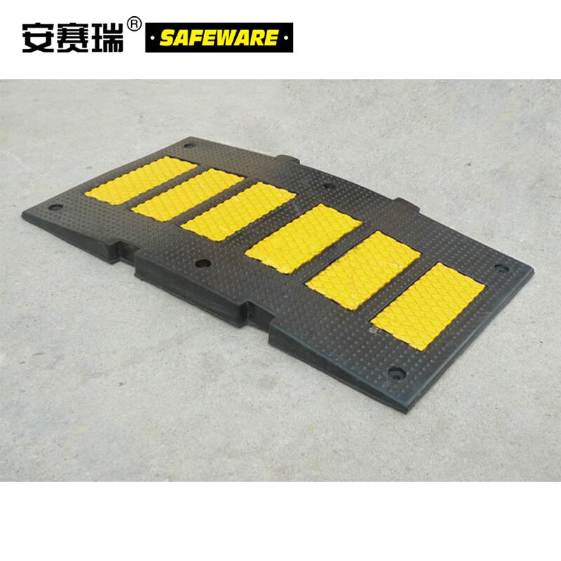 重载反光减速板-优质原生橡胶,黄黑条纹,含安装配件,900×500×50mm,11105
