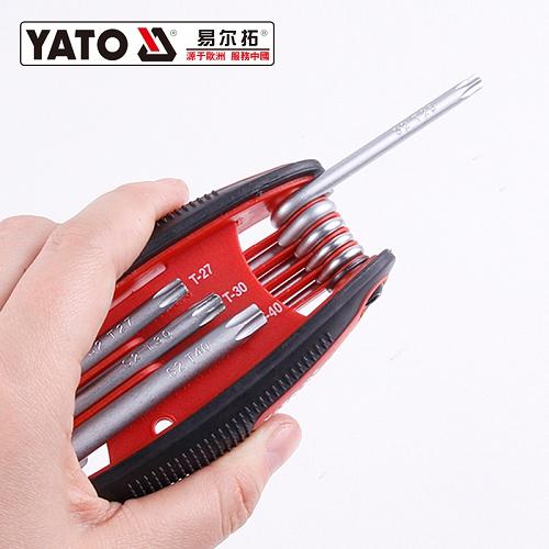 易尔拓YATO 高档中孔星型折叠内六角扳手组套,8件套,YT-58832