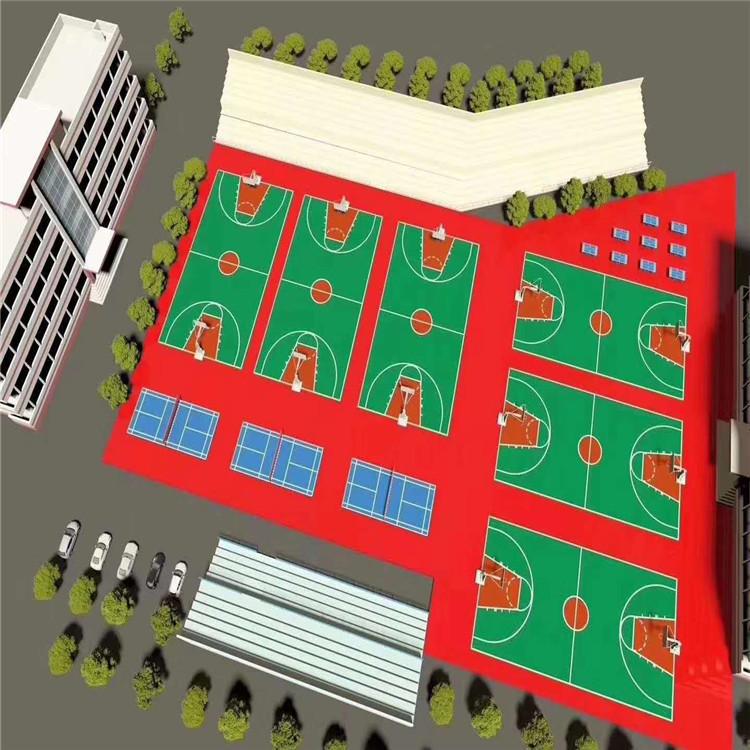 塑胶篮球场施工方案 塑胶羽毛球场材质 靠谱的硅PU塑胶篮球场