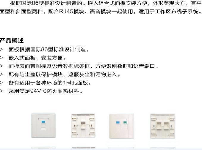 單口網絡面板 抗拉信息面板雙口電話 高純度無氧銅
